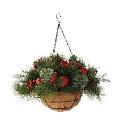 20 in. Pre-Lit Festive Hanging Basket with Cedar and Pine
