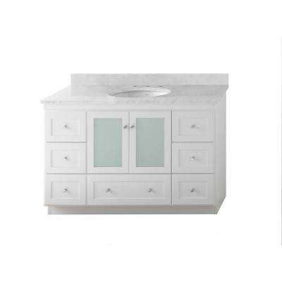 Shaker 48 in. W Vanity in White with Marble Vanity Top in Cararra White with White Basin