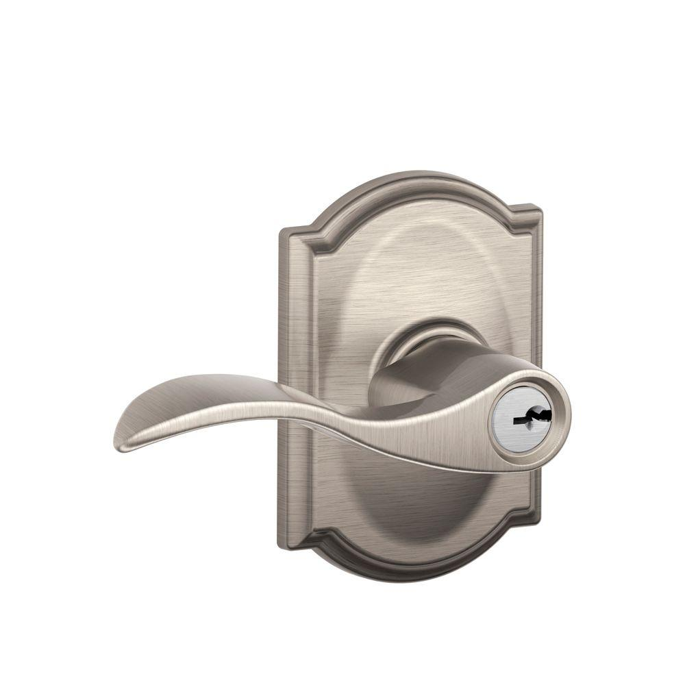 Schlage Accent Satin Nickel Entry Door Lever With Camelot Trim F51 V ACC  619 CAM   The Home Depot