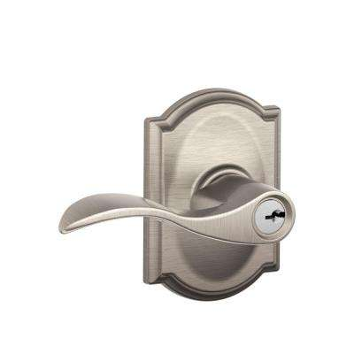 Accent Satin Nickel Keyed Entry Door Lever with Camelot Trim
