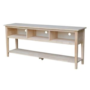 72 in. Unfinished Wood TV Stand Fits TVs Up to 72 in. with Cable Management
