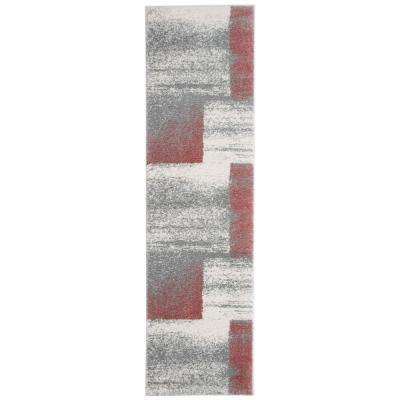 Contemporary Distressed Boxes Design Ultra Soft Fluffy Shag Pink 2 ft. x 7 ft. Runner Rug