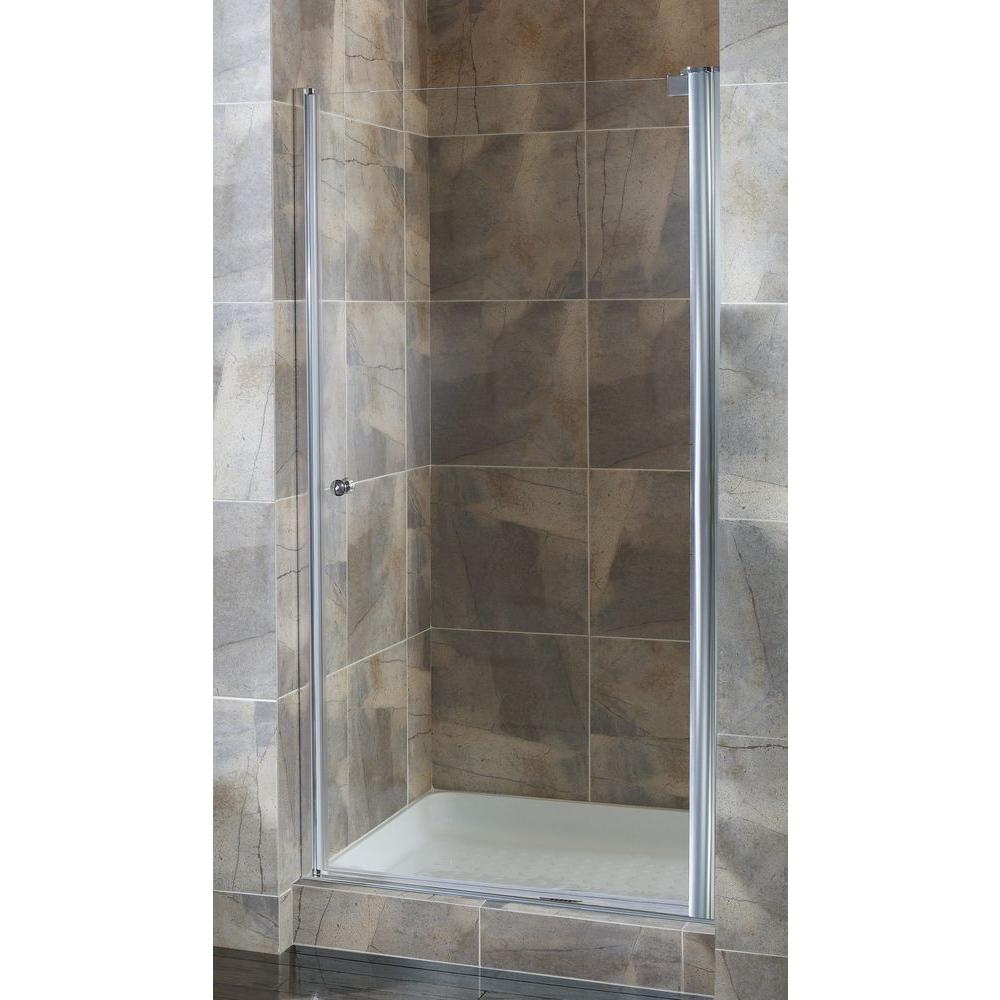 Foremost Cove 24.5 in. to 26.5 in. x 72 in. Semi-Framed Pivot Shower Door in Silver with 1/4 in. Clear Glass
