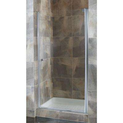 Cove 32.5 in. to 34.5 in. x 72 in. H Semi-Framed Pivot Shower Door in Brushed Nickel with 1/4 in. Clear Glass