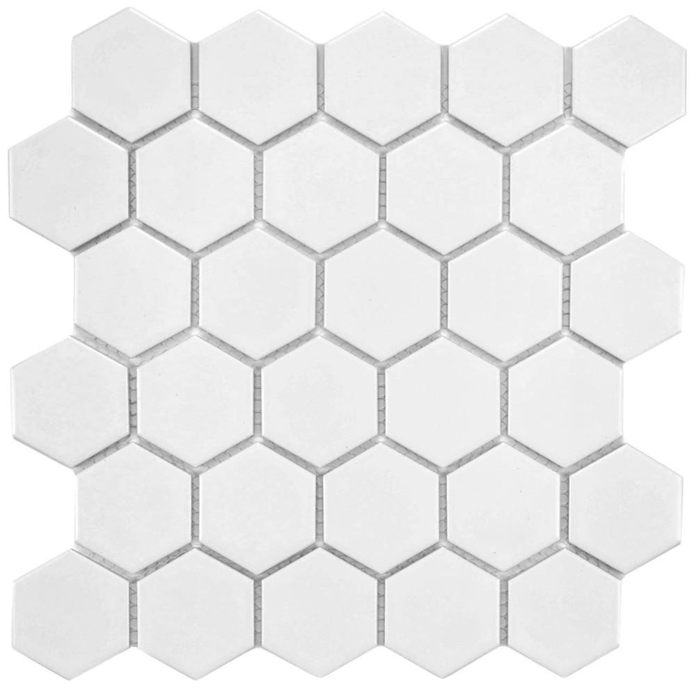 Merola Tile Metro Hex 2 in. Matte White 10-1/2 in. x 11 in. x 6 mm Porcelain Mosaic Tile