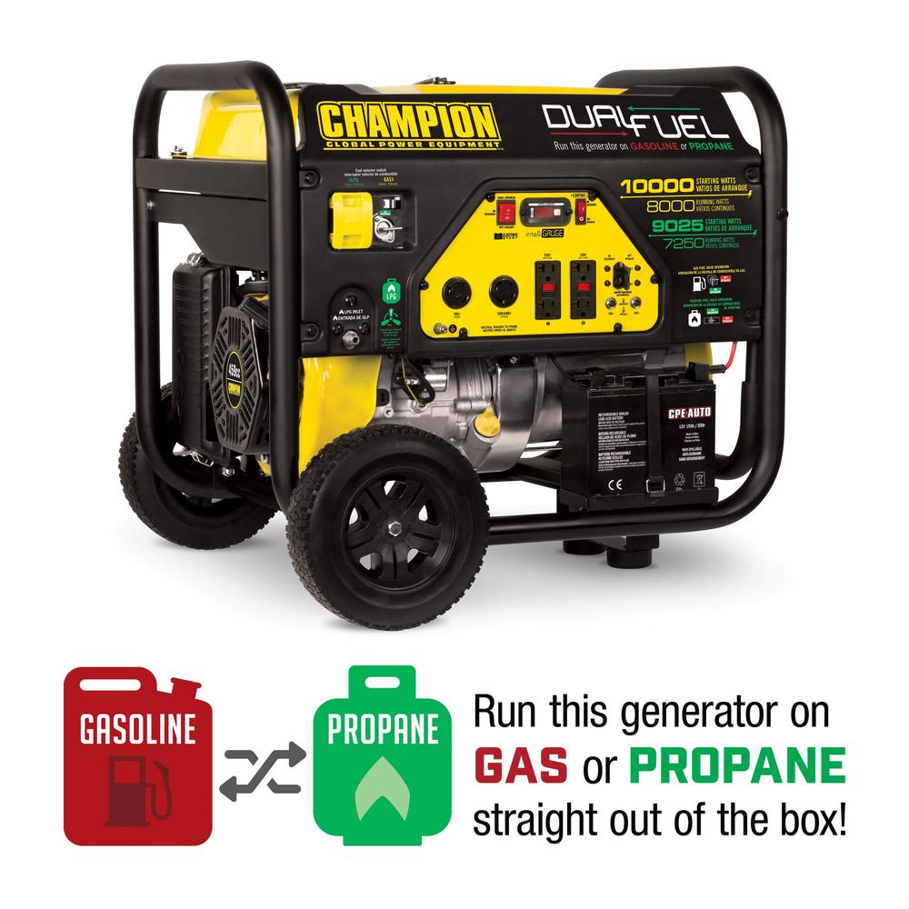 Champion Power Equipment 8000-Watt Dual Fuel Push-Button Electric Start  Powered Portable Generator