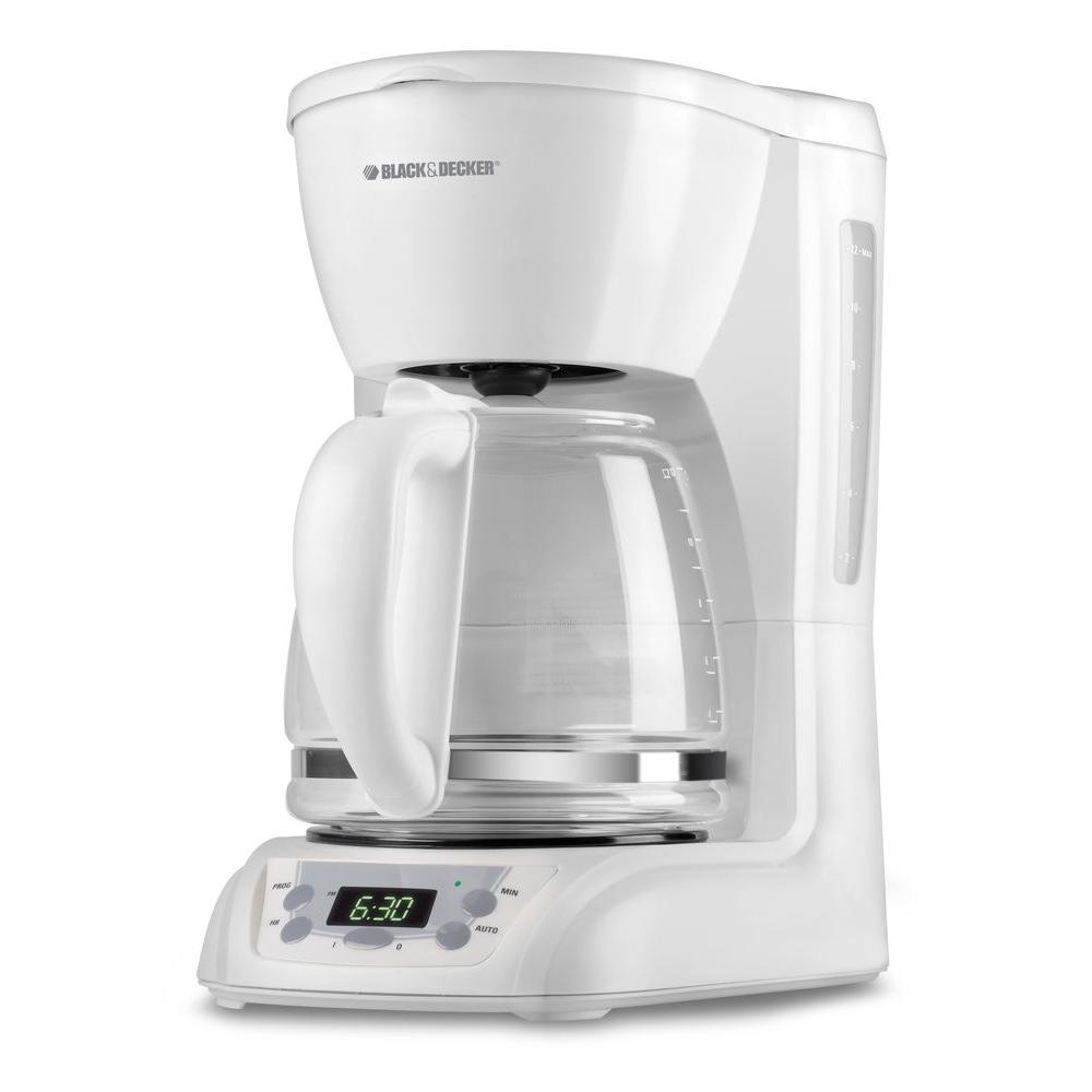 BLACK+DECKER 12-Cup Programmable Coffeemaker, White-DISCONTINUED