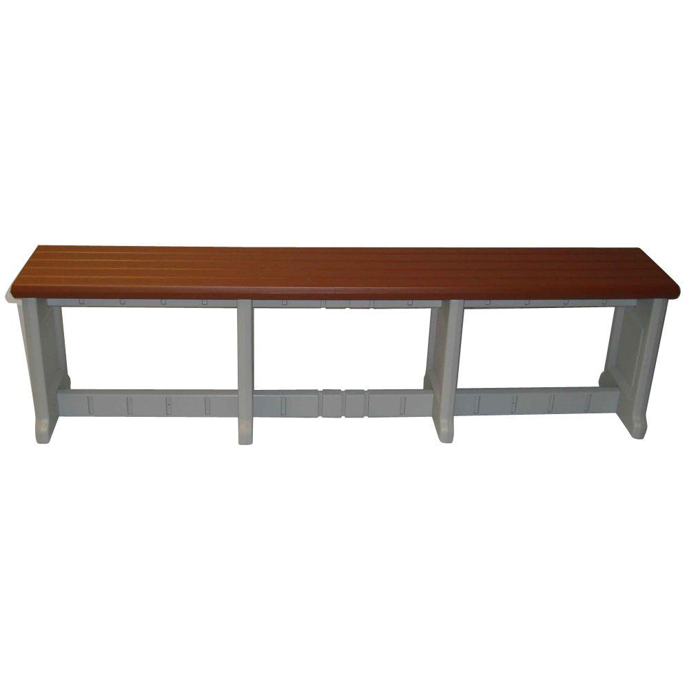 Leisure Accents Redwood 74 in. Resin Patio Bench