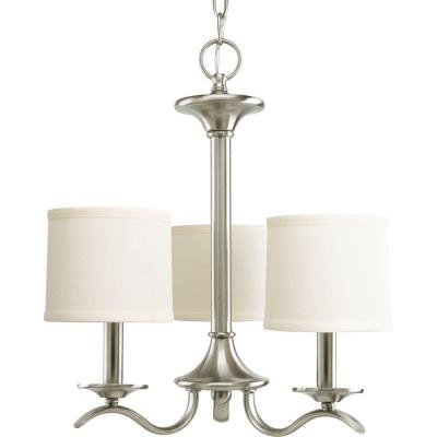 Inspire Collection 3-Light Brushed Nickel Chandelier with Beige Linen Shade