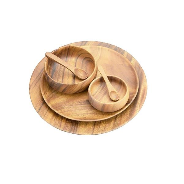 Acaciaware 6-Piece Wooden Round Tray Set with Serving Bowls and Spoons