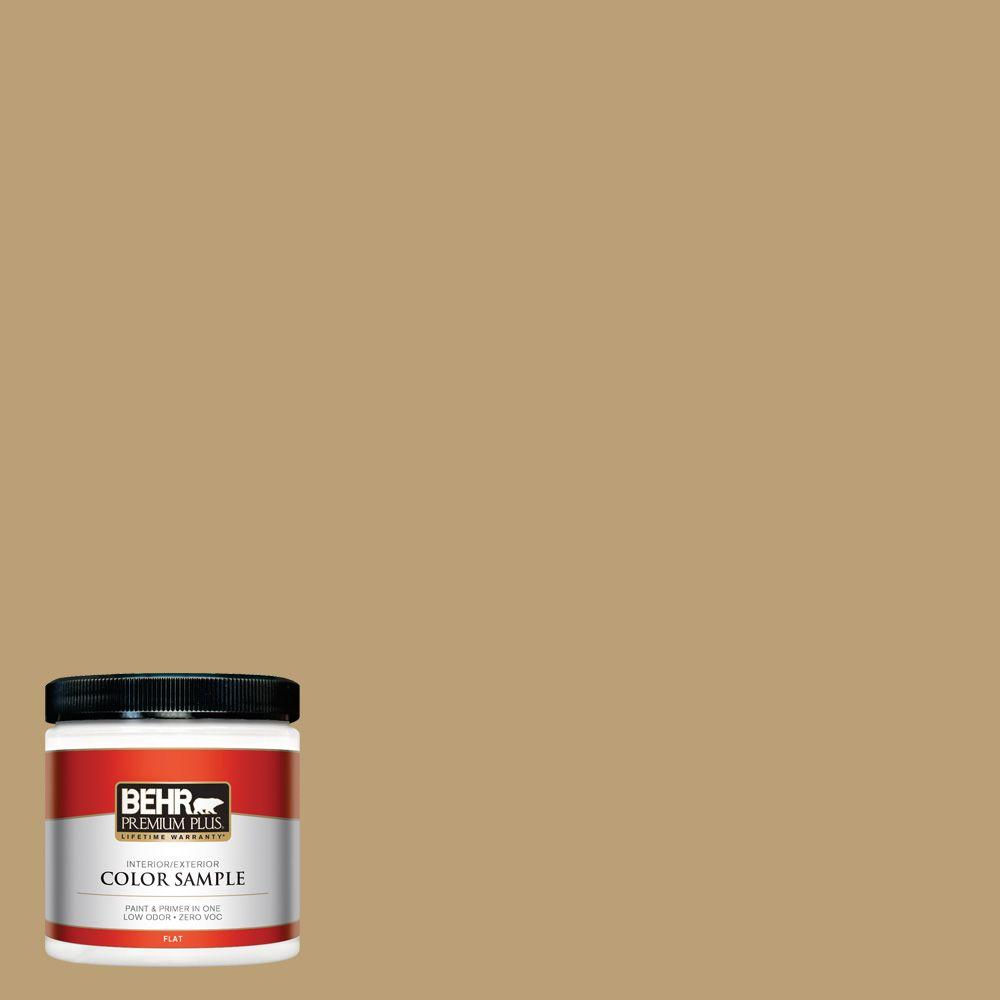 Behr Premium Plus 8 Oz Pmd 50 Winter Wheat Flat Interior Exterior Paint And Primer In One Sample