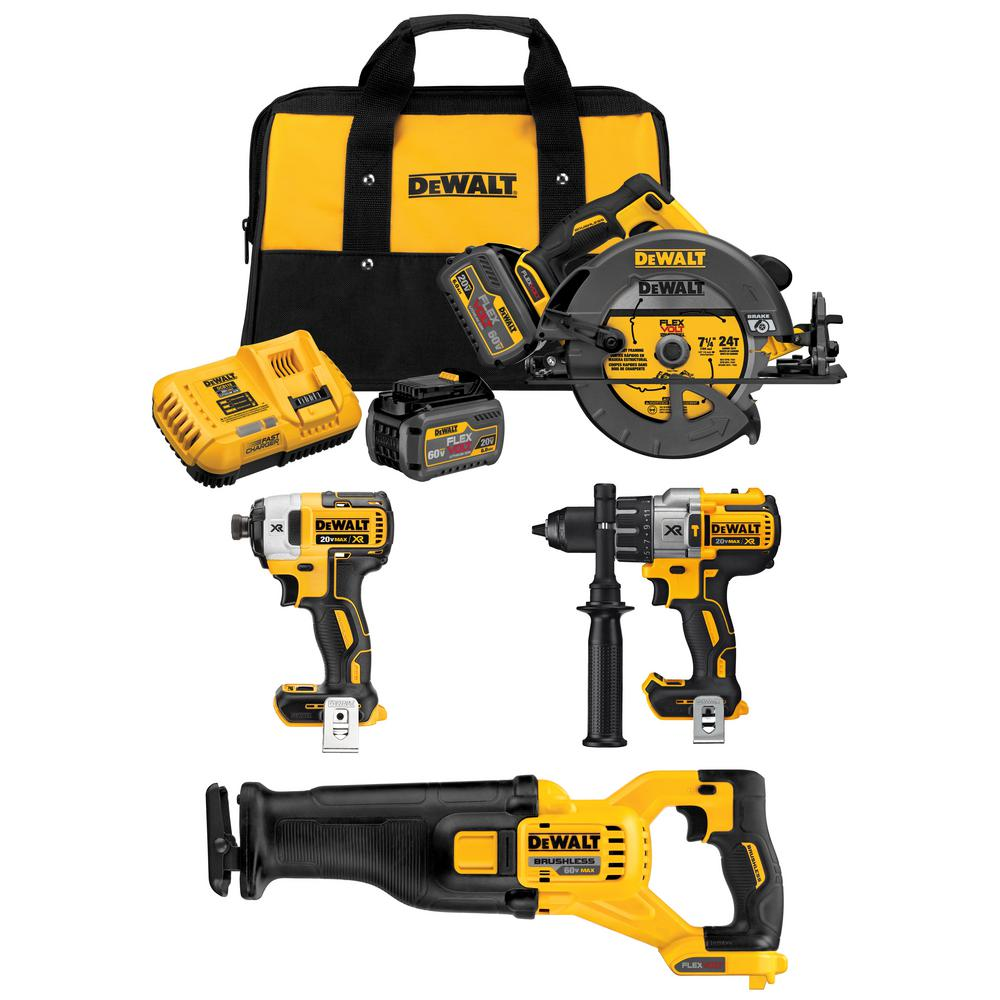 DEWALT FLEXVOLT 20-Volt/60-Volt MAX Lithium-Ion Cordless Combo Kit (4-Tool) w/ (2) FLEXVOLT 20V/60V Batteries & Charger