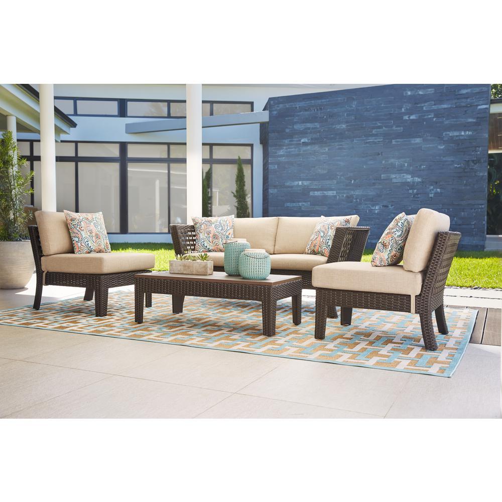 Hampton Bay Tyler 4 Piece Steel Wicker Conversation Set With Beige Cushions