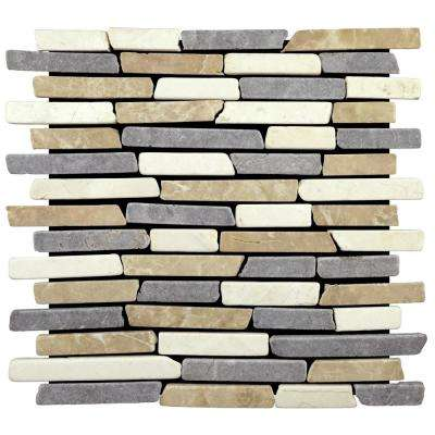 Sticks Tile Blend 11.75 in. x 11.75 in. x 9.5 mm Indonesian Marble Mesh-Mounted Mosaic Tile (10.659 sq. ft. / case)