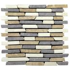 Sticks Tile Tan/White/Grey 11-3/4 in. x 11-3/4 in. x 9.5 mm Indonesian Marble Mesh-Mounted Mosaic (10.67 sq. ft. / case)