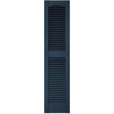 12 in. x 52 in. Louvered Vinyl Exterior Shutters Pair in #036 Classic Blue
