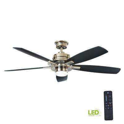 Montpelier 56 in. LED Indoor Gunmetal Ceiling Fan with Light Kit and Remote Control