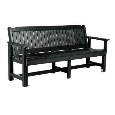 Exeter 77 in. 3-Person Black Plastic Outdoor Bench
