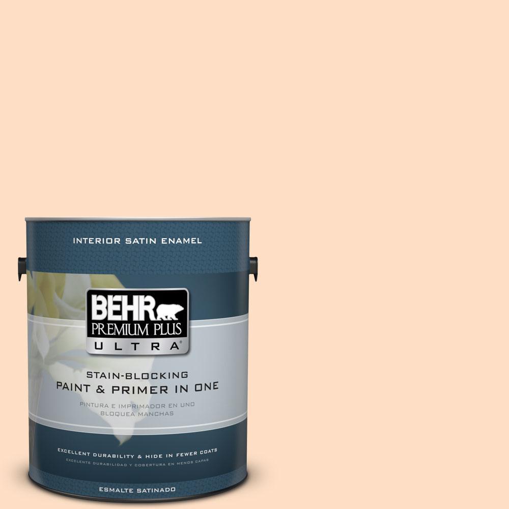 BEHR Premium Plus Ultra 1-gal. #290C-2 Creamy Beige Satin Enamel Interior Paint