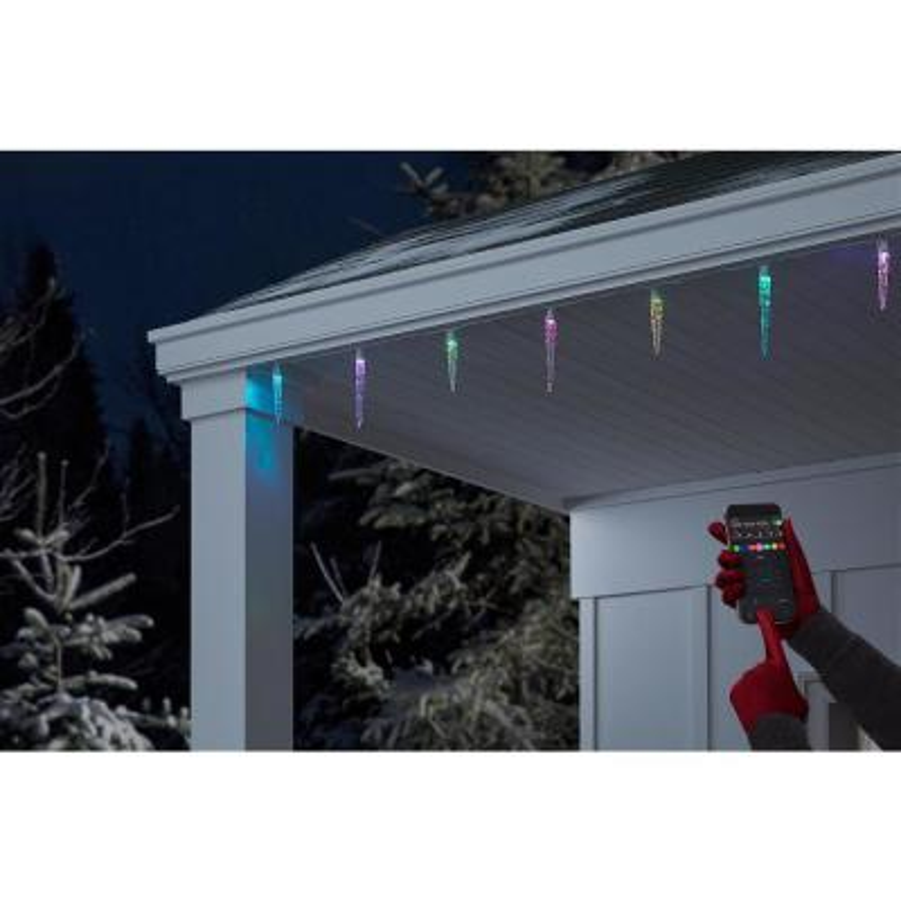 App 24-Light LED Multi-Color Icicle Light