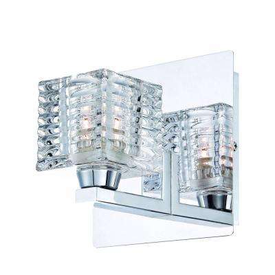 Olivet 1-Light Chrome Sconce with Cube Glass Shade