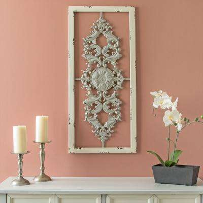Grey Scroll Metal Panel Wall Decor