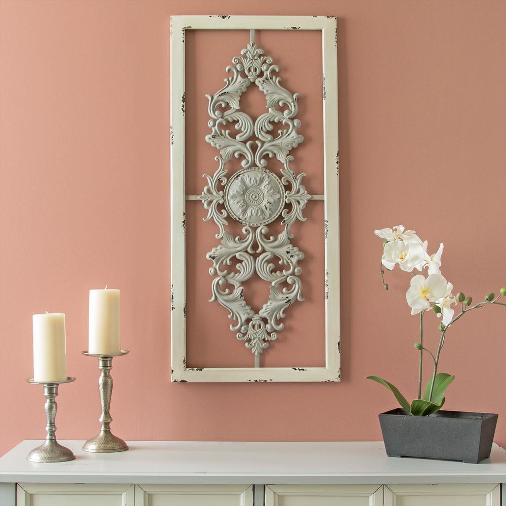 Stratton Home Decor Grey Scroll Metal Panel Wall Decor