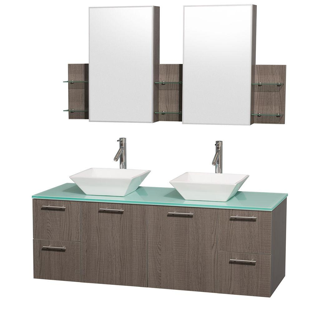 Wyndham Collection Amare 60 in. Double Vanity in Grey Oak with Glass Vanity Top in Aqua and White Porcelain Sinks