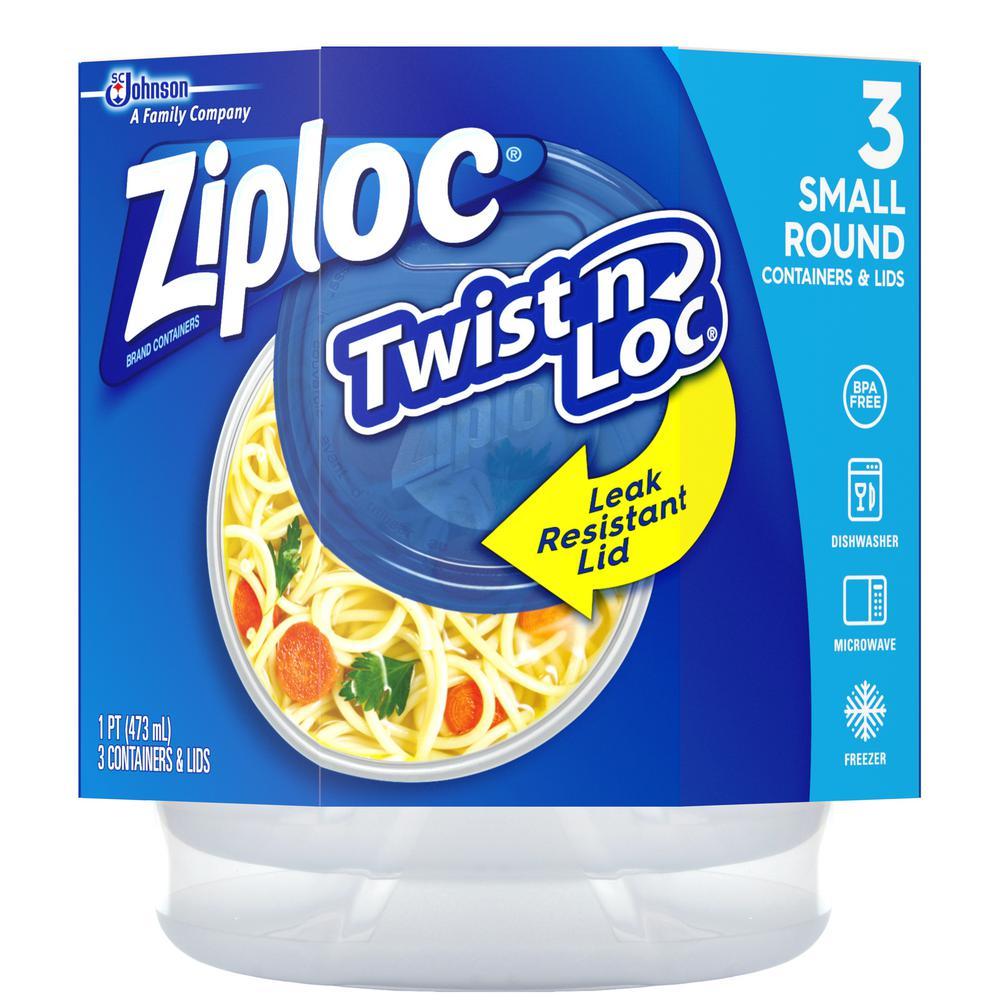 16 oz. Twist n Loc Round Plastic Storage Container Small Lids (3 per Pack) (6 per Carton)