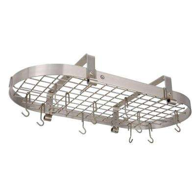 Handcrafted 37 in. Low Ceiling Oval Pot Rack with 18 Hooks Stainless Steel
