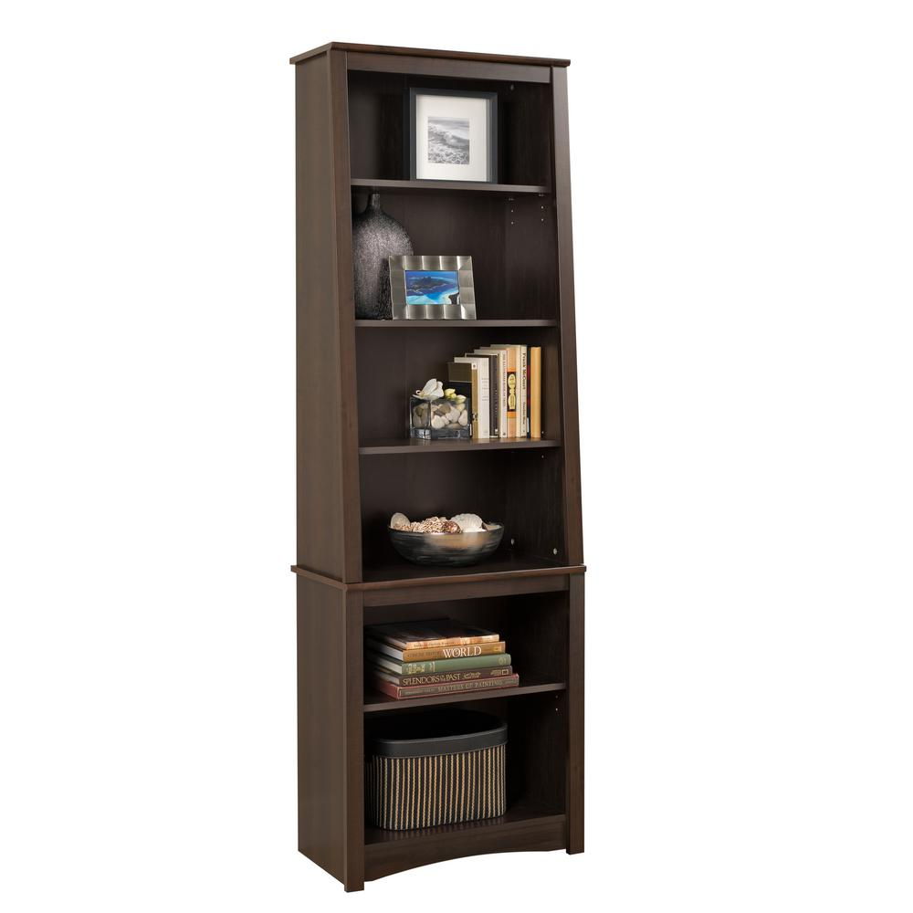 bookcases midas double espresso wide p e concepts bookcase shelf wood in
