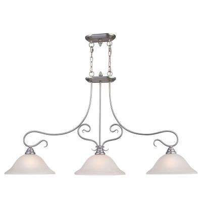 Providence 3-Light Brushed Nickel Incandescent Island Ceiling Pendant