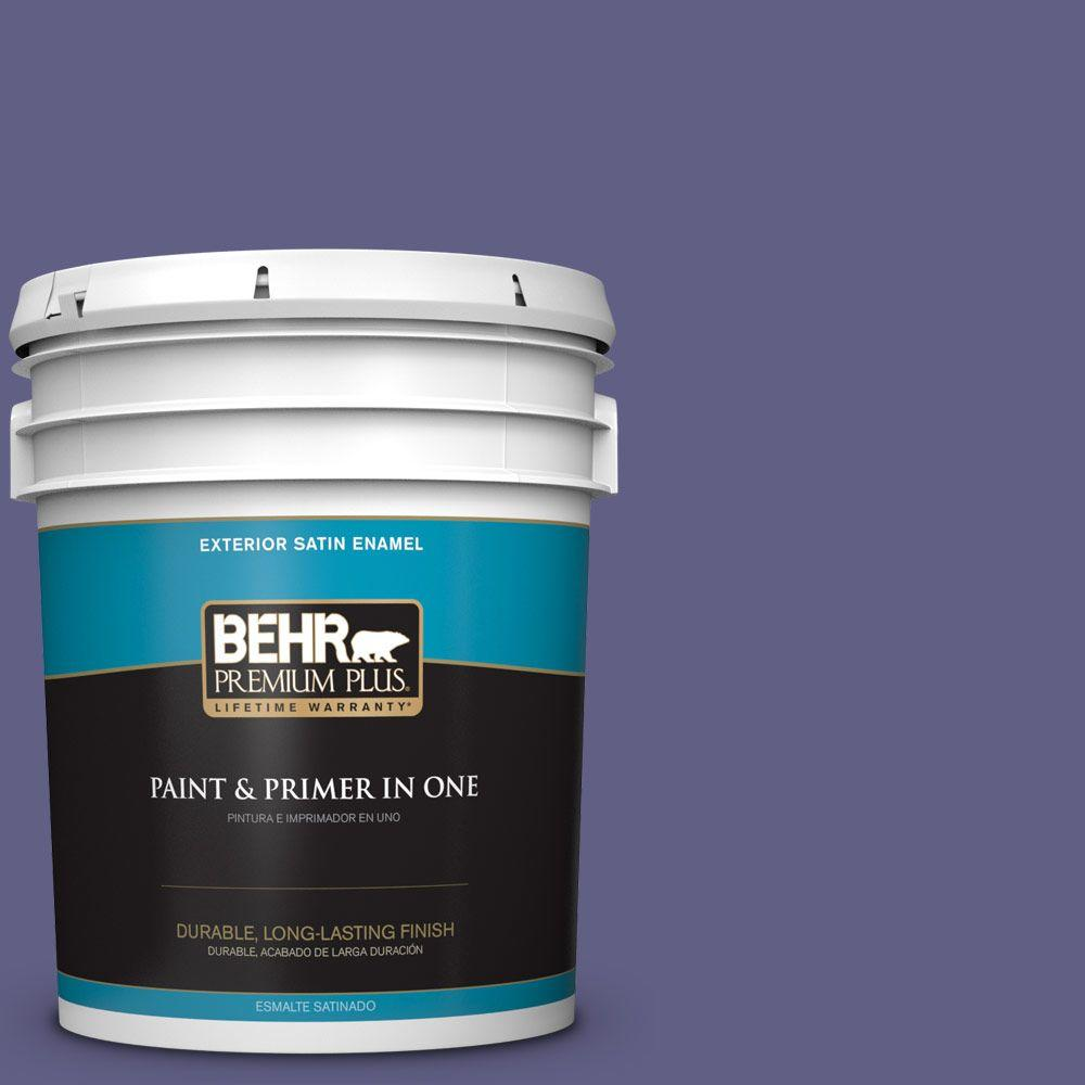 BEHR Premium Plus 5-gal. #640D-7 Pharaoh Purple Satin Enamel Exterior Paint