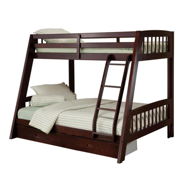 Hillsdale Furniture Rockdale Espresso Twin Over Full Bunk Bed 1668bb The Home Depot