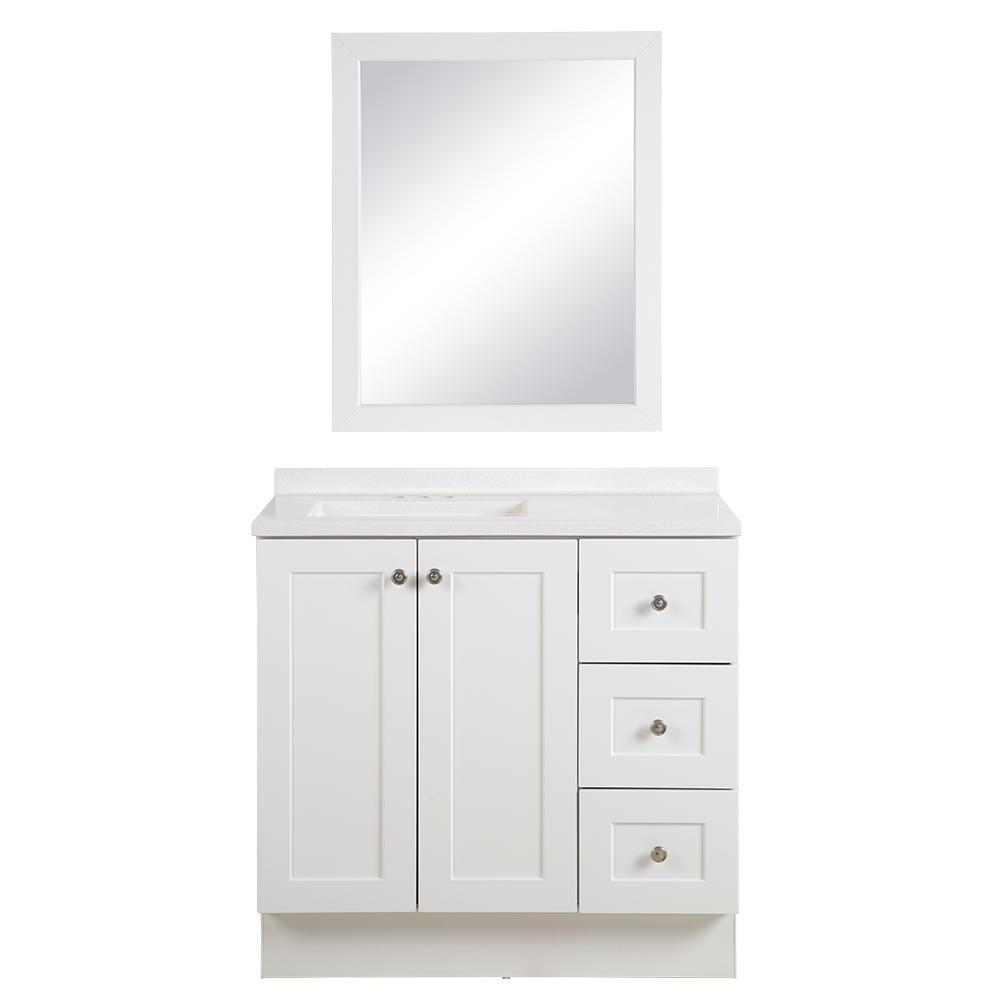 Glacier Bay Bannister 37 in. W x 18.75 in. D Bathroom Vanity in White with Colorpoint Vanity Top in White with White Sink and Mirror