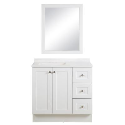 Bannister 37 in. W x 18.75 in. D Bathroom Vanity in White with Colorpoint Vanity Top in White with White Sink and Mirror