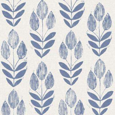 Scandinavian Blue Block Print Tulip Wallpaper Sample