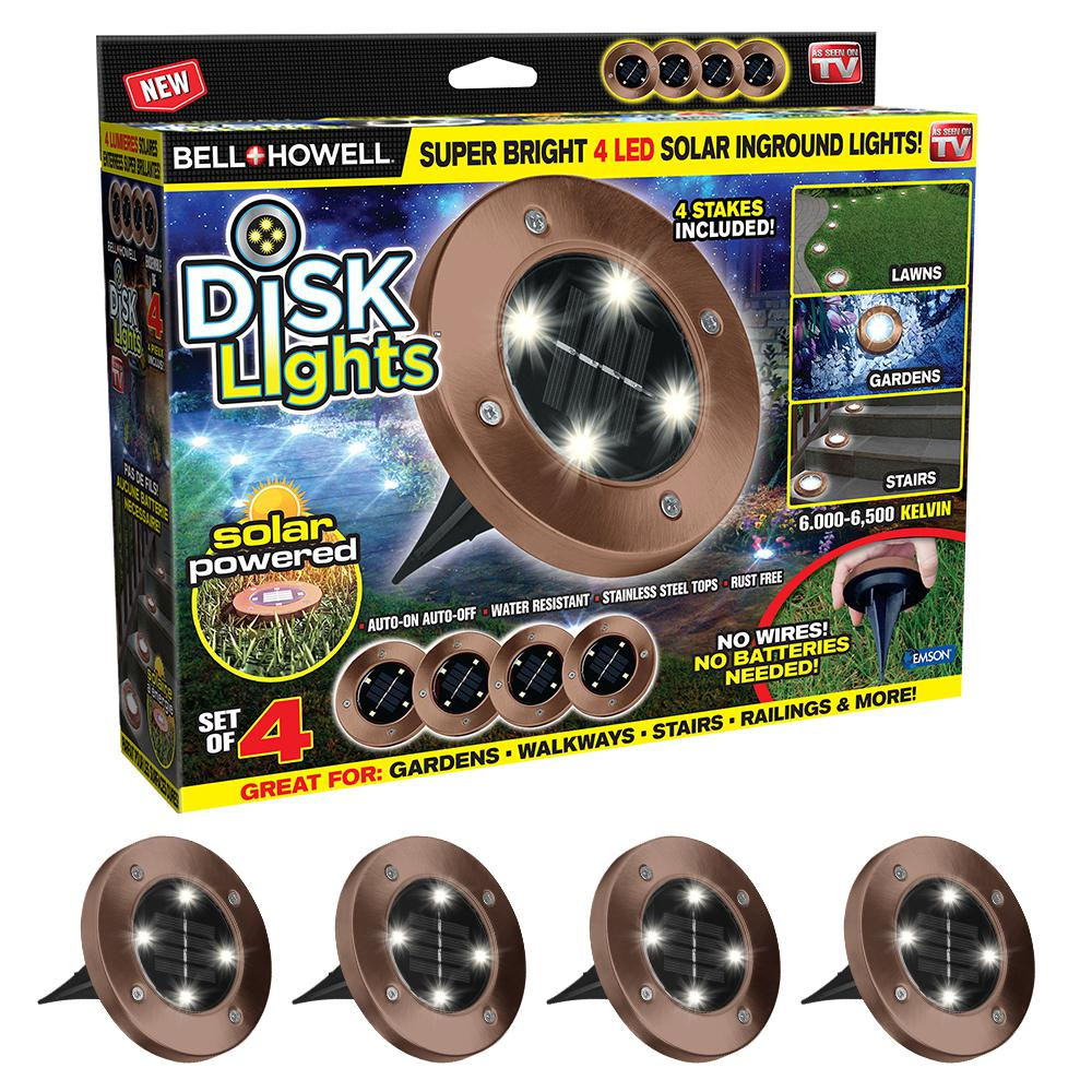 Solar Powered Bronze Outdoor Integrated LED Super Bright In-Ground Path Disk Light (4 per Box)