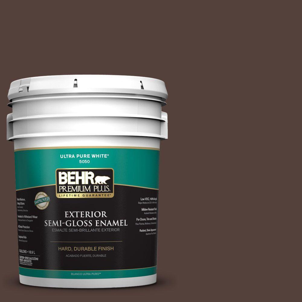 BEHR Premium Plus 5-gal. #PPF-51 Dark Walnut Semi-Gloss Enamel Exterior Paint
