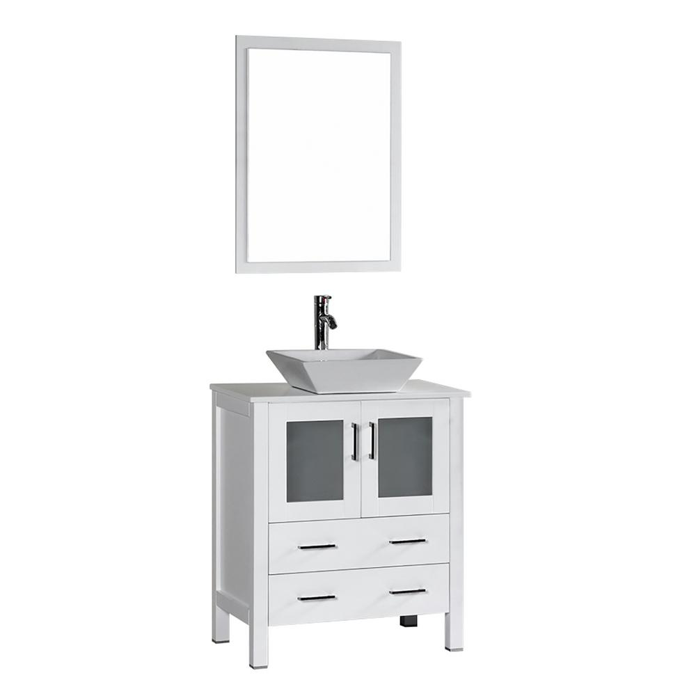 30 in. W Single Bath Vanity in White with Pheonix Stone