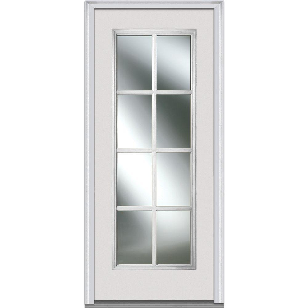 32 in. x 80 in. Clear Simulated Divided Lites Right-Hand Full
