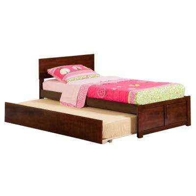 Orlando Walnut Twin Platform Bed with Flat Panel Foot Board and Twin Size Urban Trundle Bed