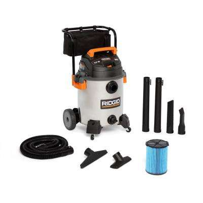16 Gal. 6.5-Peak HP Stainless Steel Wet/Dry Shop Vacuum with Filter, Hose and Accessories