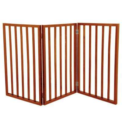 Free-Standing Mahogany Wooden Pet Gate