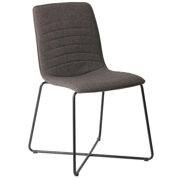 Gray and Black Fabric Upholstered Metal Chair with Cross Base Design