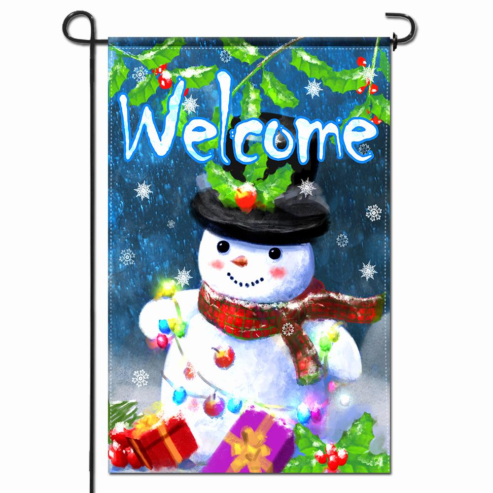 Anley 18 In X 12 5 In Double Sided Premium Welcome Winter Snowman Gifts Christmas Decorative Garden Flags Double Stitched A Flag Garden Snowmangif The Home Depot