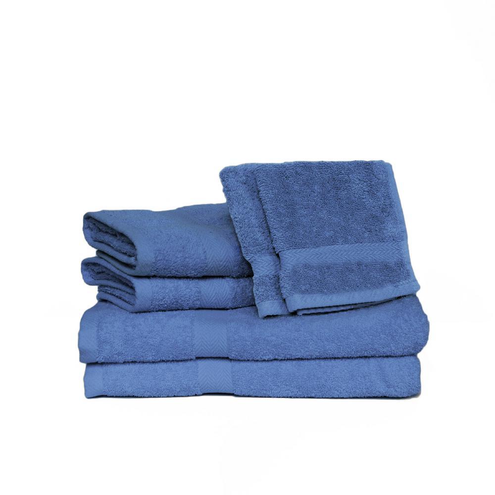 Espalma Deluxe 6-Piece Cotton Terry Bath Towel Set in Marine 858741