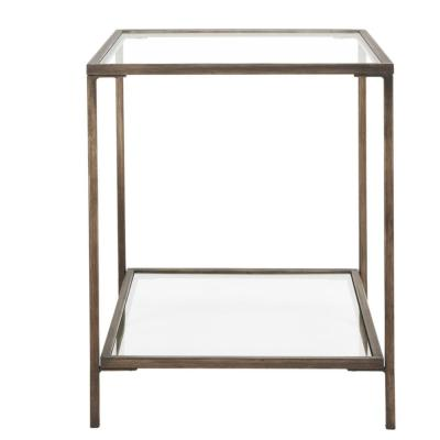 Bella Square Antique Bronze Metal and Glass Accent Table (20 in. W x 24 in. H)