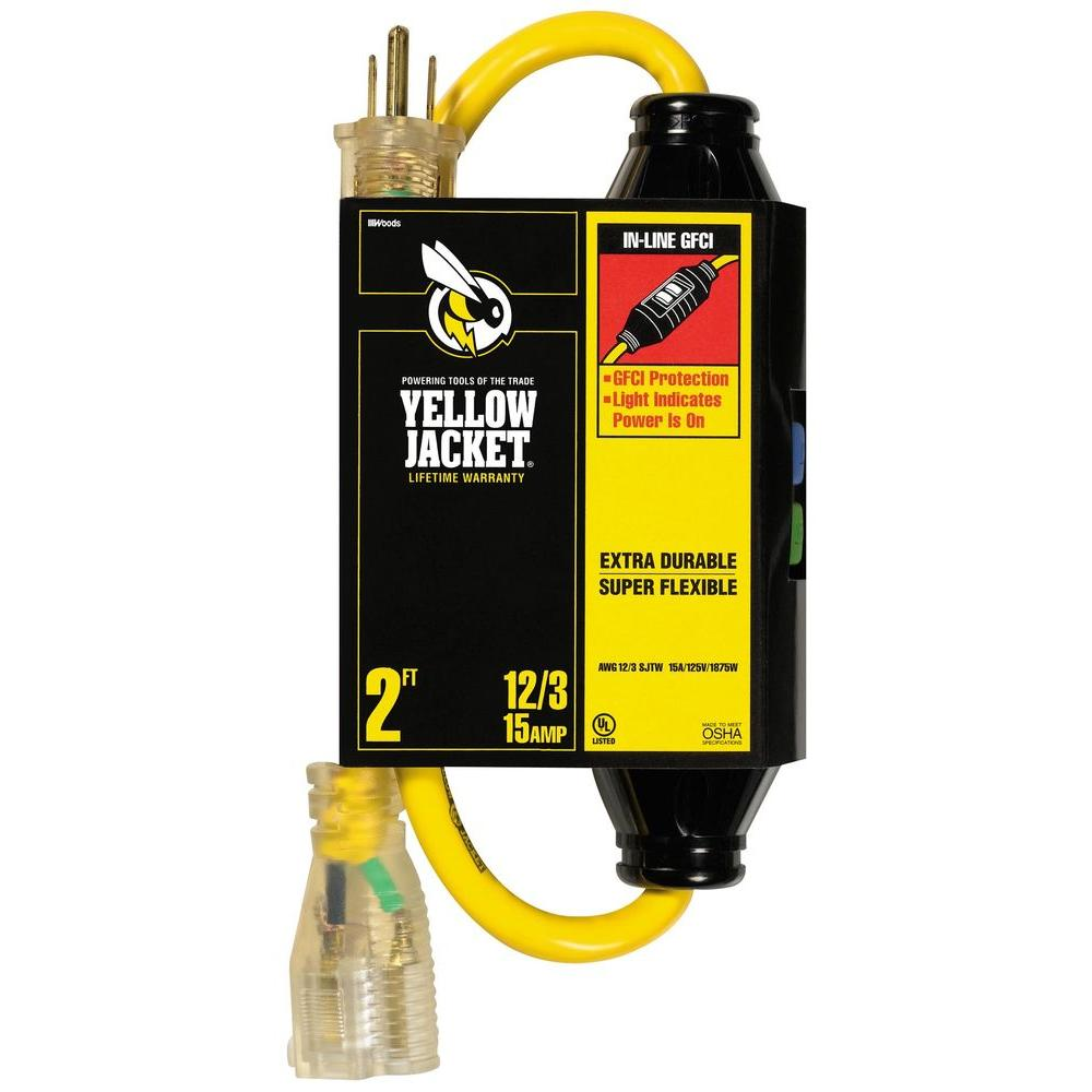 YELLOW JACKET 2 ft. 12/3 SJTW with In-Line GFCI and Lighted Receptacle