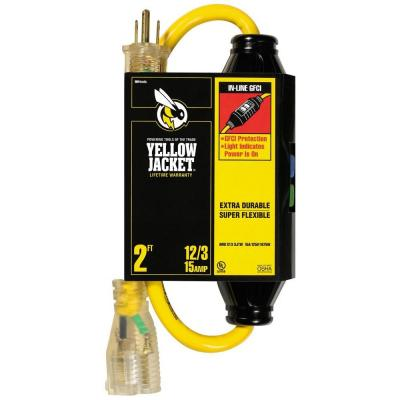 2 ft. 12/3 SJTW In-Line GFCI Heavy-Duty Cord with Power Light Plug